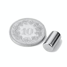S-06-10-N Stabmagnet Ø 6 mm, Höhe 10 mm, Neodym, N40, vernickelt