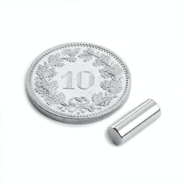 S-04-10-AN Rod magnet Ø 4 mm, height 10 mm, holds approx. 700 g, neodymium, N45, nickel-plated