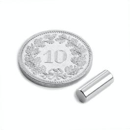 S-04-10-AN Staafmagneet Ø 4 mm, hoogte 10 mm, neodymium, N45, vernikkeld