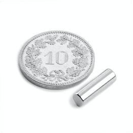 S-04-13-N Staafmagneet Ø 4 mm, hoogte 12.5 mm, houdt ca. 660 gr, neodymium, N42, vernikkeld