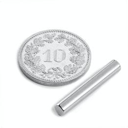 S-04-25-N Cilindro magnético Ø 4 mm, alto 25 mm, neodimio, N42, niquelado