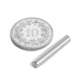 S-04-25-N Cilindro magnético Ø 4 mm, alto 25 mm, sujeta aprox. 670 g, neodimio, N42, niquelado