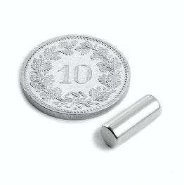 S-05-14-N Cylindre magnétique Ø 5 mm, hauteur 13.96 mm, tient env. 1.1 kg, néodyme, N45, nickelé