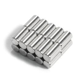 S-03-06-N Cilindro magnético Ø 3 mm, alto 6 mm, neodimio, N48, niquelado