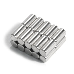 S-03-06-N Rod magnet Ø 3 mm, height 6 mm, holds approx. 400 g, neodymium, N48, nickel-plated