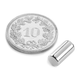 S-05-10-N Staafmagneet Ø 5 mm, hoogte 10 mm, houdt ca. 1.1 kg, neodymium, N45, vernikkeld