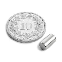 S-05-08-N Cylindre magnétique Ø 5 mm, hauteur 8.47 mm, tient env. 1.1 kg, néodyme, N45, nickelé