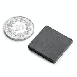 FE-Q-20-20-03 Parallélépipède magnétique 20 x 20 x 3 mm, ferrite, Y35, sans placage