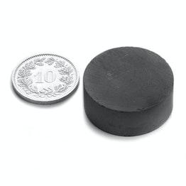 FE-S-25-10 Disque magnétique Ø 25 mm, hauteur 10 mm, ferrite, Y35, sans placage