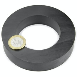 FE-R-100-60-20 Ring magnet Ø 100/60 mm, height 20 mm, holds approx. 16 kg, ferrite, Y35, no coating