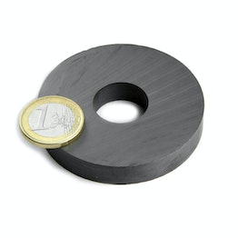 FE-R-60-20-10 Ringmagneet Ø 60/20 mm, hoogte 10 mm, ferriet, Y35, zonder coating