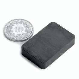 FE-Q-30-20-06 Block magnet 30 x 20 x 6 mm, ferrite, Y35, no coating