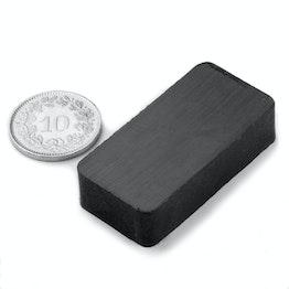 FE-Q-40-20-10 Blokmagneet 40 x 20 x 10 mm, houdt ca. 2.5 kg, ferriet, Y35, zonder coating