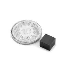 FE-Q-07-07-05 Blokmagneet 7 x 7 x 5 mm, houdt ca. 200 gr, ferriet, Y35, zonder coating
