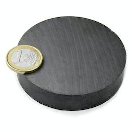 FE-S-70-15 Disco magnético Ø 70 mm, alto 15 mm, sujeta aprox. 8,4 kg, ferrita, Y35, sin revestimiento