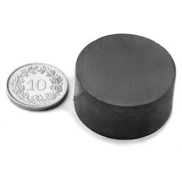 FE-S-30-15 Disco magnetico Ø 30 mm, altezza 15 mm, ferrite, Y35, senza rivestimento