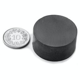 FE-S-30-15 Disco magnetico Ø 30 mm, altezza 15 mm, tiene ca. 3 kg, ferrite, Y35, senza rivestimento