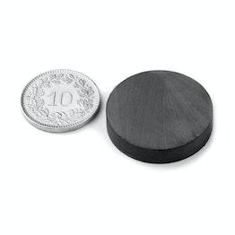 FE-S-25-05 Disco magnético Ø 25 mm, alto 5 mm, sujeta aprox. 800 g, ferrita, Y35, sin revestimiento
