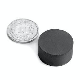 FE-S-20-10 Disque magnétique Ø 20 mm, hauteur 10 mm, ferrite, Y35, sans placage
