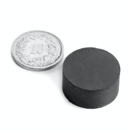 FE-S-20-10 Disco magnético Ø 20 mm, alto 10 mm, ferrita, Y35, sin revestimiento