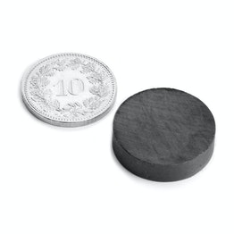 FE-S-20-05 Disco magnetico Ø 20 mm, altezza 5 mm, ferrite, Y35, senza rivestimento