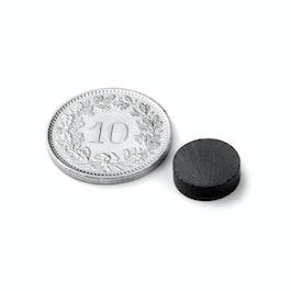 FE-S-10-03 Disco magnético Ø 10 mm, alto 3 mm, ferrita, Y35, sin revestimiento