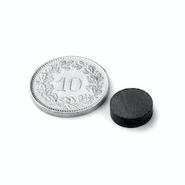 FE-S-10-03 Disco magnético Ø 10 mm, alto 3 mm, sujeta aprox. 200 g, ferrita, Y35, sin revestimiento