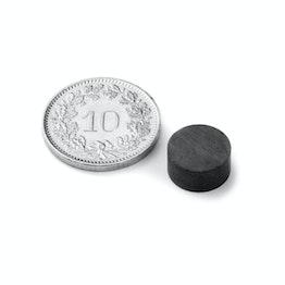 FE-S-10-05 Disco magnético Ø 10 mm, alto 5 mm, ferrita, Y35, sin revestimiento