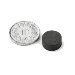 FE-S-12-05 Disco magnético Ø 12 mm, alto 5 mm, ferrita, Y35, sin revestimiento