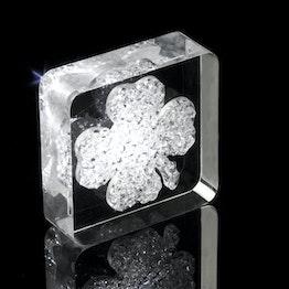 "Dekomagnet ""Lucky Diamond"" hält ca. 450 g, mit Kleeblatt-Motiv, aus Plexiglas, mit Swarovski-Kristallen"