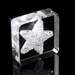 Imán decorativo «Diamond Star» con motivos de estrellas, de plexiglás, con cristales Swarovski