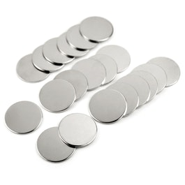 Discos metálicos 35 x 2 mm ¡no son imanes!, ferromagnéticos, niquelados, set de 20 uds.