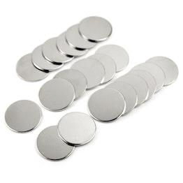 Disques métalliques 35 x 2 mm ne sont pas des aimants !, ferromagnétique, nickelé, lot de 20 pièces