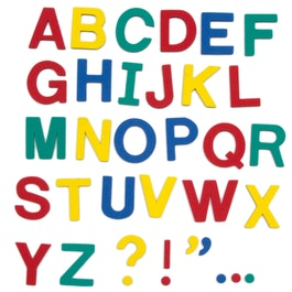 Magnetic letters approx. 100 letters & punctuation marks, made of EVA foam, 4 assorted colours