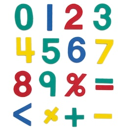 Magnetic numbers approx. 100 numbers & operation symbols, made of EVA foam, 4 assorted colours