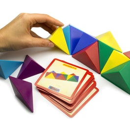 Tangram cube made of 24 magnetic tetrahedrons, with 20 templates