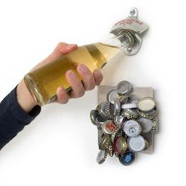 Wandflaschenöffner Bieröffner, mit magnetischem Kronkorken-Sammler, inkl. Montagezubehör