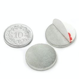 PAS-20 Disco metálico autoadhesivo Ø 20 mm, como contrapieza para imanes, ¡no es un imán!