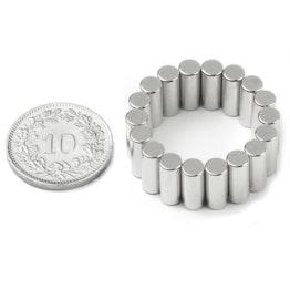 S-04-10-DN Cilindro magnético Ø 4 mm, alto 10 mm, sujeta aprox. 1.1 kg, neodimio, N45, niquelado, magnetización diametral