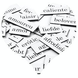 Mots magnétiques Amour mots, syllabes et signes de ponctuation, 510 pièces, disponibles en différentes langues