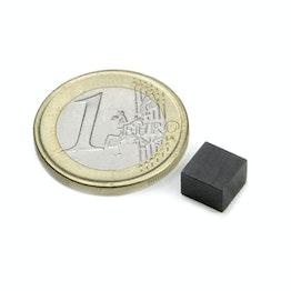 FE-Q-07-07-05 Block magnet 7 x 7 x 5 mm, holds approx. 200 g, ferrite, Y35, no coating