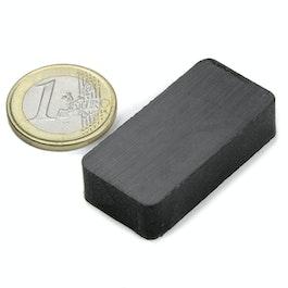 FE-Q-40-20-10 Block magnet 40 x 20 x 10 mm, ferrite, Y35, no coating