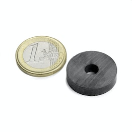 FE-R-22-06-05 Ring magnet Ø 22/6 mm, height 5 mm, ferrite, Y35, no coating