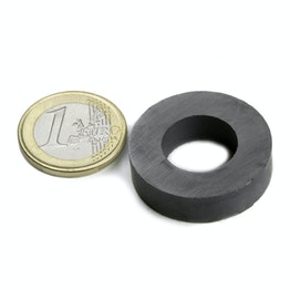 FE-R-30-16-08 Ring magnet Ø 30/16 mm, height 8 mm, holds approx. 1,6 kg, ferrite, Y35, no coating