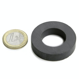 FE-R-40-22-09 Ring magnet Ø 40/22 mm, height 9 mm, ferrite, Y35, no coating