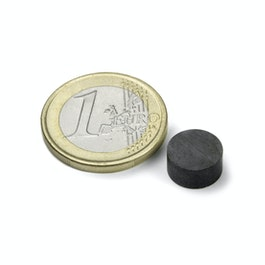 FE-S-10-05 Disco magnetico Ø 10 mm, altezza 5 mm, ferrite, Y35, senza rivestimento