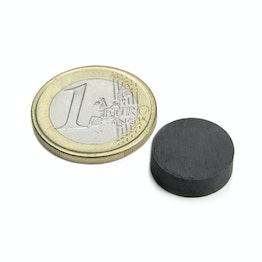 FE-S-15-05 Disco magnetico Ø 15 mm, altezza 5 mm, tiene ca. 550 g, ferrite, Y35, senza rivestimento
