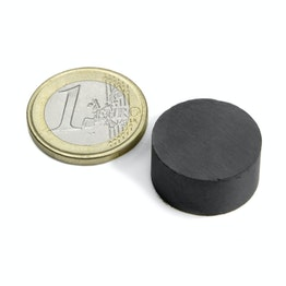 FE-S-20-10 Disc magnet Ø 20 mm, height 10 mm, holds approx. 1,4 kg, ferrite, Y35, no coating