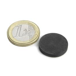FE-S-20-03 Disco magnetico Ø 20 mm, altezza 3 mm, ferrite, Y35, senza rivestimento
