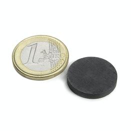 FE-S-20-03 Disco magnético Ø 20 mm, alto 3 mm, sujeta aprox. 400 g, ferrita, Y35, sin revestimiento
